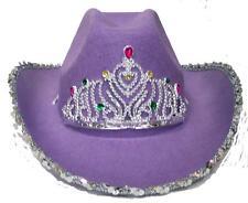 2 VELVET PURPLE COWBOY HAT W TIARA cowgirl western wear pageant hats rodeo wear