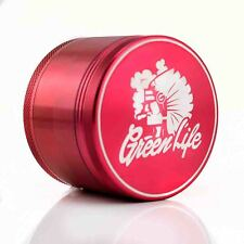 "Green Life Chiefin' RED 2.5"" 4pc Muller Herb Tobacco Grinder Crusher Sharpstone"