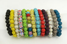 Wholesale Lots 10pcs Shamballa Crystal Swarovski Disco Ball Beads Bracelets