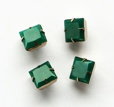 VINTAGE 4 JADE GREEN CHRYSOPHRASE GLASS BUTTONS SQUARE 12mm SILVER SHANK