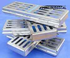 "5 DENTAL SURGICAL INSTRUMENTS STERILIZATION CASSETTES BOX TRAY 7"" X 2.5""X 0.75"""