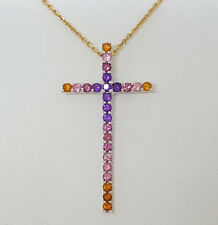 18K Yellow / White Gold Citrin,Tourmaline, Amethyst Cross Pendant / Necklace 18""