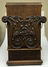 Antique Oak Book Magazine Newspaper Folio Stand Holder Rack Rosette Leaves