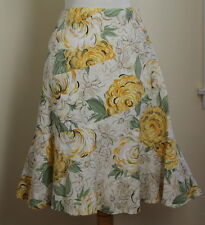 Elevenses Anthropologie Soft Yellow Floral Funky Art-to-Wear Corduroy Skirt Sz 8