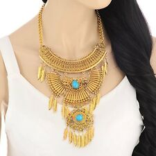 Gold Tribal statement bib chunky Turquoise tassel choker necklace