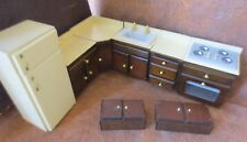 MINIATURE DOLLHOUSE kitchen wood appliances cabinetry furniture 8pc set 1/12