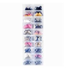 20X Clear Plastic Shoe Organizer Clear Shoe Boxes Holder Foldable Stackable Bulk