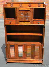 Vintage Solid Cherry Kitchen Dining Country Hutch Display Cabinet Carved Flowers