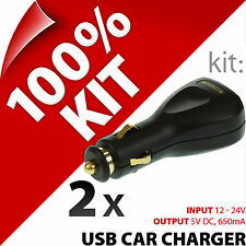 2 x New Kit USB In-Car Charger 12/2V Lighter Socket for Mobile and Smart Phones