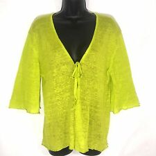 BRYN WALKER sweater L lime green linen tie front cardigan 3/4 sleeve lightweight