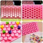 Cute 55 Mini Heart Shape Silicone Ice Cube Fondant Chocolate Tray Mold Mould QT
