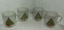 4 Carlton Glass 10 oz CHRISTMAS Tree Mugs Cups