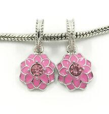 HOT 2pcs Silver European Charm Crystal Spacer Beads Fit Necklace Bracelet DIY C3