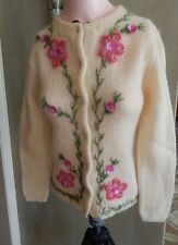 Vintage 50s Jane Irwill Mohair Blend Cardigan Sweater w Pink Flowers & Sequins S