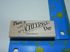 Stampin Up 1 Rubber Stamp Cheerleader Cheer Leader Phrase Have a Cheerful Day