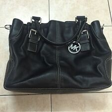 AUTHENTIC MICHAEL KORS BROOKVILLE LARGE LEATHER CROSSBODY TOTE BLACK HANDBAG