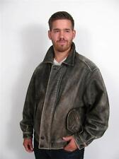 EDDIE BAUER DISTRESSED BROWN LEATHER MANS  FLIGHT JACKET HEAVY COAT~M