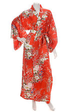 Japanese Silk Kimono Floral Print Long Red XL