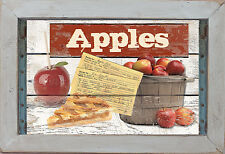 Primitive Set/2 Country Kitchen Hot Apples Apple Pie Cider Fruit Wall Art Signs