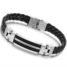 Cool Black Leather Bracelet Charm Wristband Mens Stainless Steel Magnetic Clasp