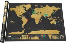 "Scratch Off Art World Map Poster Decor Large Deluxe Edition Travel 32.5"""" x 23.4"
