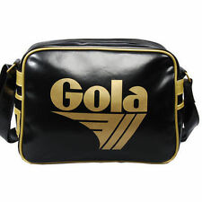 MENS GOLA REDFORD RETRO CLASSIC MESSENGER BAG - BLACK & GOLD