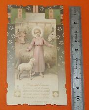 CHROMO 1920/1930 IMAGE PIEUSE CATHOLICISME HOLY CARD ENFANT JESUS CRECHE MOUTON