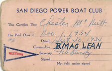 1934 San Diego Power Boat Club Membership Card, Chester McNutt
