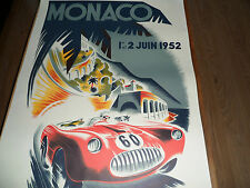 "LARGE 39"" x 26.5"" (approx) FABULOUS PRINT OF MONACO GRAND PRIX 1952 B MINNE"