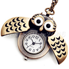 Vintage Bronze Steampunk Owl Quartz Pocket Watch Pendant Necklace Chain Gift New
