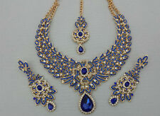 Indian Bollywood Blue Gold Crystal Jewellery set inc Necklace, Earring and Tikka