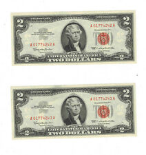 1963 Two consecutive Red Seal Notes 2 Dollar Bill Federal Reserve Uncirculated