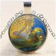 Gold Ocean Mermaid Cabochon Glass Tibet Silver Chain Pendant Necklace