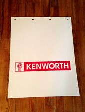 Pair of Kenworth Semi Truck Mud Flaps 24x30 White Poly With Kenworth In Red