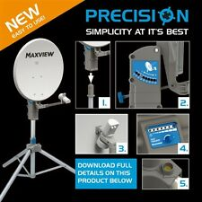 MAXVIEW PRECISION 55CM CARAVAN CAMPING SATELLITE TRIPOD KIT WITH TWIN LNB