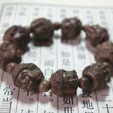 Fragrant Agarwood Carved Gautama Buddha Head Buddhist Prayer Bead Mala Bracelet