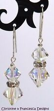 925 Silver CRYSTAL AB & RONDELLE Drop Hook Earrings with SWAROVSKI ELEMENTS +Box