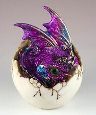 """Purple Baby Dragon Hatching From Egg Figurine Hatchling 4"""" Detailed Resin New!"""