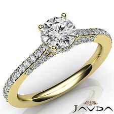 Lustrous Round Diamond Engagement GIA I VS2 18k Yellow Gold Pave Set Ring 1.36Ct