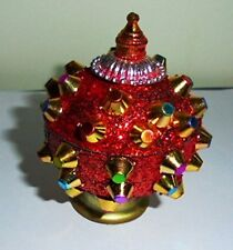 Red Christmas Decorative Trinket Box Sindoor Tika Hindu Puja Home Decor India