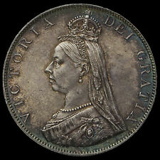 1887 Queen Victoria Jubilee Head Silver Double Florin, Roman 1 in Date