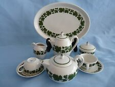 MEISSEN Porcelain FULL GREEN VINE Miniature Child Tea Coffee Service SET for TWO