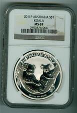 AUSTRALIA 2011-P $1 .999 1 OZ. SILVER KOALA BEAR NGC MS-69 GEM BU NO SPOTS