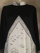 True Vintage 1970s Terry Kay Women's Oriental Long Dress sz 18? black & Ivory