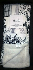 NANETTE LEPORE LOVE IN PARIS EIFFEL TOWER FLORAL POST CARD PLUSH THROW BLANKET