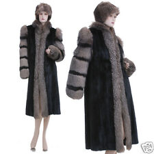 Excellent! Beautiful Canadian Black Mink w/Indigo Fox Fur Coat w/Free Fur Hat