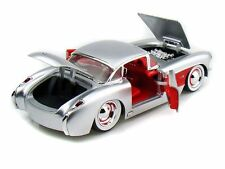 JADA BIGTIME MUSLCE 1957 CORVETTE SILVER 1/24 DIECAST CAR NEW IN BOX/ RARE ITEM