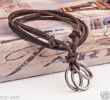 Mens Retro Metal Rings Pendant Genuine Leather Surfer Choker Long Necklace Brown