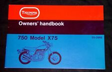 1973 Triumph Trident 750, X75, Hurricane, OEM, Unissued, OWNERS Handbook, Manual
