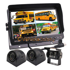 "9"" QUAD SPLIT SCREEN MONITOR TRUCK TRAILER BACKUP CAMERA REAR VIEW CAMERA SYSTEM"